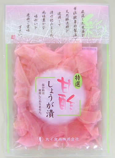 Marui Foods Sweetened Vinegar Pickled Ginger / 甘酢しょうが漬 50g - Konbiniya Japan Centre