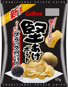 Kata Age Potato Chips Black Pepper Flavour / 堅あげポテト ブラックペッパー味 65g - Konbiniya Japan Centre