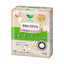 Laurier Natural Cotton 100% Panty Liners / パンティーライナー 50 sheets - Konbiniya Japan Centre