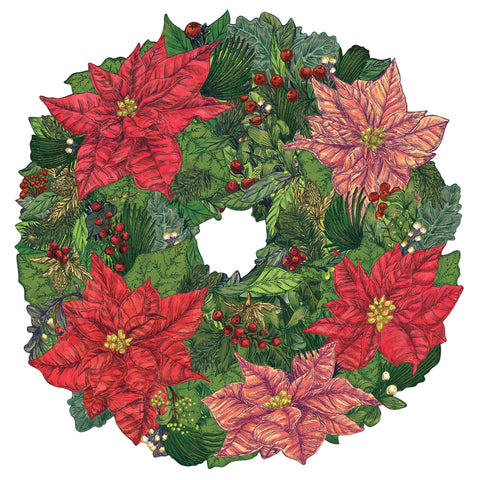 Die Cut Ponsettia Wreath Placemat