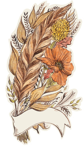 Fall Feather and Flower Accent Card