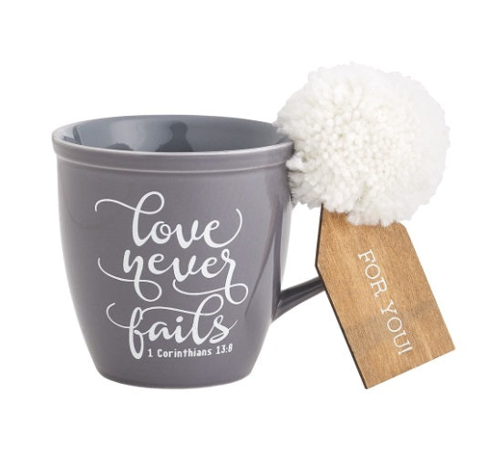 "Coffee Mug, ""Love Never Fails"""