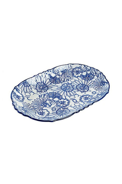 Blue & White Oval Plate with Scalloped Edge