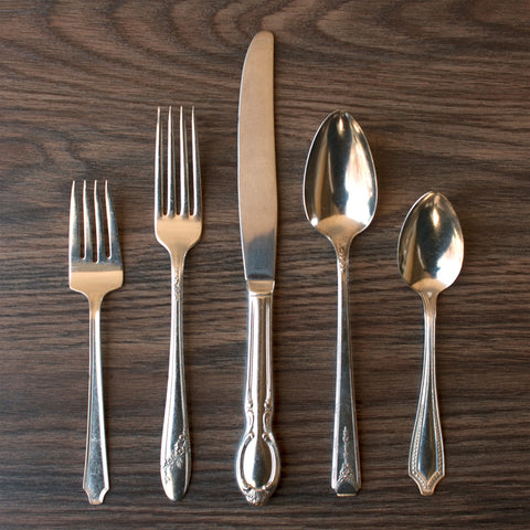 Five Piece Silver Plate Flatware