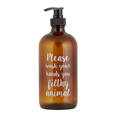 "Soap Bottle ""Filthy Animal"" in Amber"