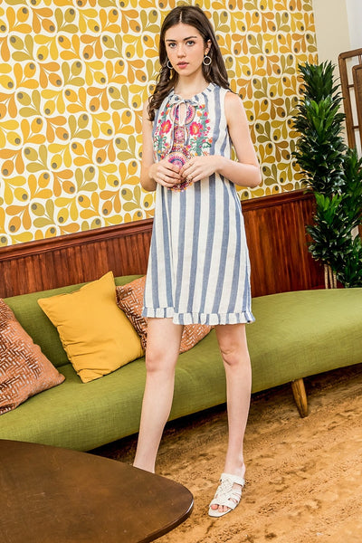 THML Stripe Tie V-Neck Dress