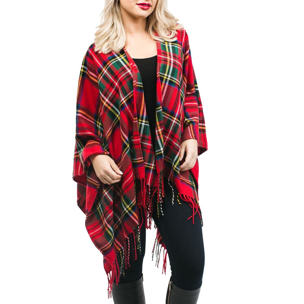 Ruby Plaid Ruana: Red Tartan