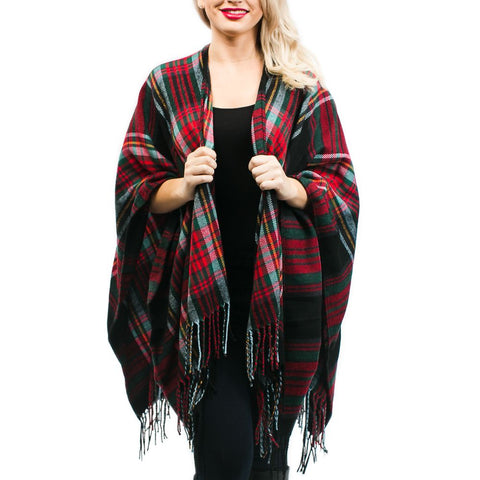 Ruby Plaid Ruana: Black Plaid