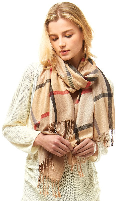 Women's Plaid Light Weight Long Wrap Scarf