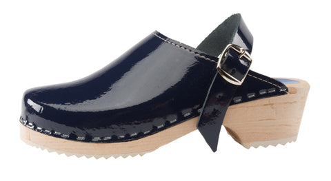 Navy Blue Patent Clogs