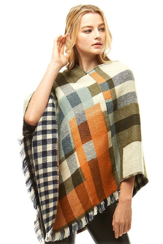 Women's Multi Colored Poncho with Fringe
