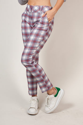Plaid High Waist Straight Leg Pants