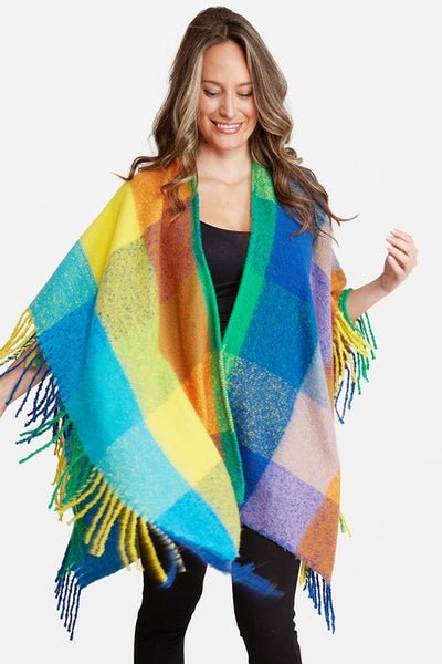 Colorful Check Pattern Poncho with Fringes