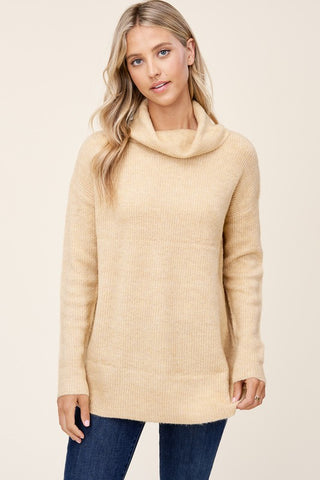 Staccato Cowl Neck Long Sleeve Sweater