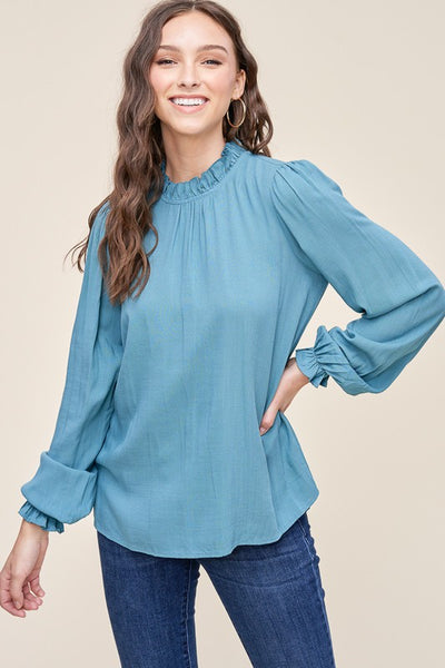 Staccato Ruffled Neck Long Sleeve Top