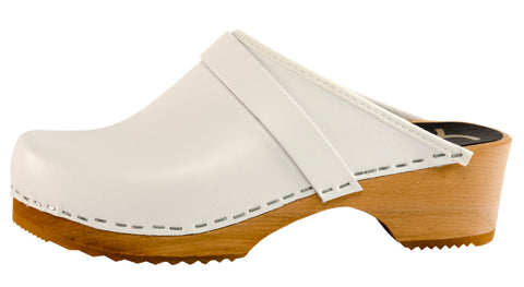 White Solid Clogs