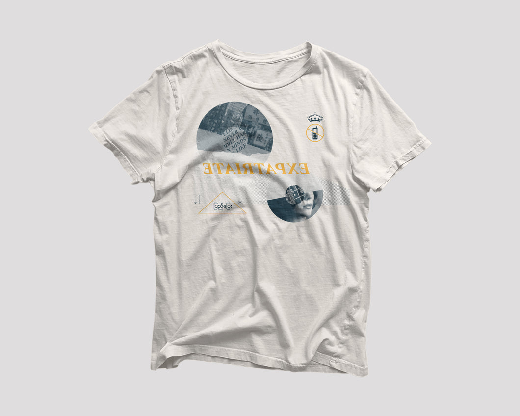 white Expatriate restaurant t-shirt with record discs