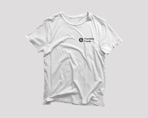 white Frontline Foods t-shirt