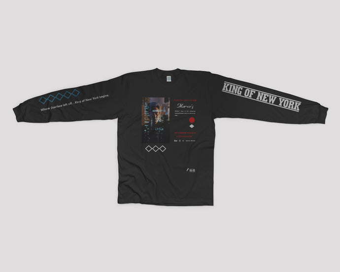 Marco's King of New York long sleeve shirt with Christopher Walken on the front