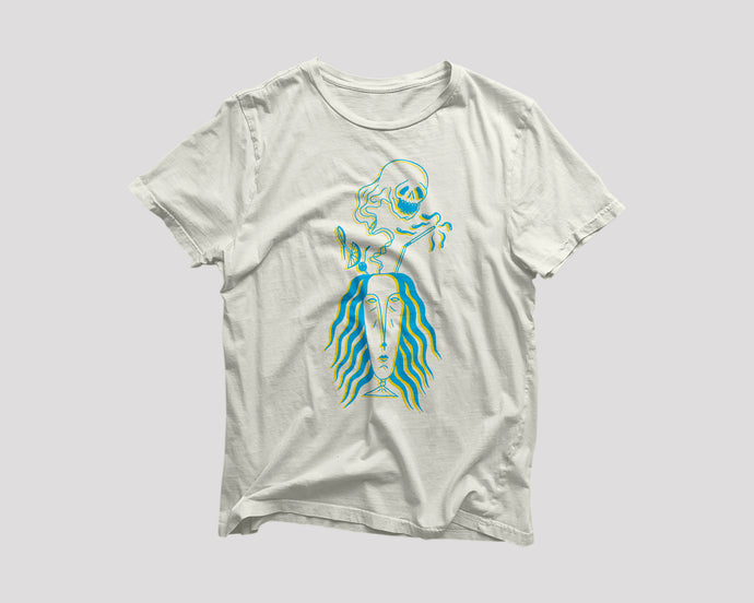 vintage white t-shirt for Navy Strength Seattle restaurant with spooky tiki drink artwork
