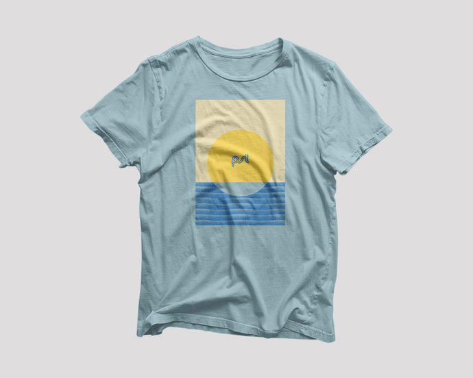 blue t-shirt for Pacific Standard Time Chicago restaurant with sunset artwork