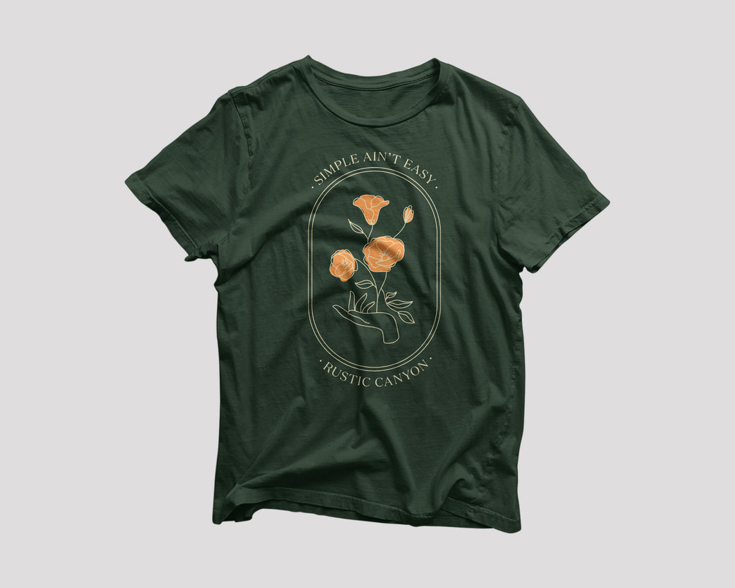 green t-shirt for Rustic Canyon LA restaurant with flower artwork
