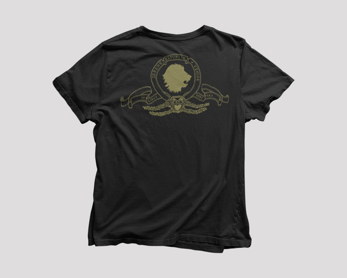 black t-shirt for SRV Boston restaurant with lion artwork