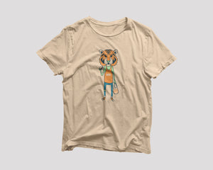 beige tiger king takeout t-shirt