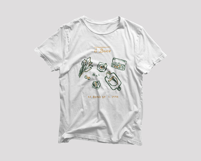 white t-shirt for il Buco NYC restaurant with kale salad artwork