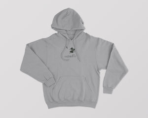 Gray Oxalis hoodie with clover on the front