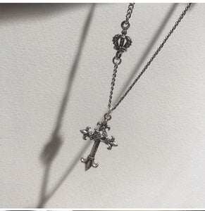 Collar Cross Crown Simple Thai Silver