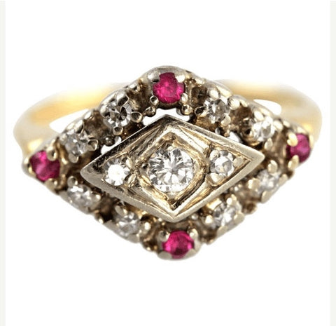 antique fashion jewelry diamond ruby ring