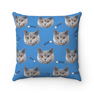 Fish Bone Custom Cat Face Throw Pillow