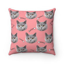 Load image into Gallery viewer, Fish Bone Custom Cat Face Throw Pillow