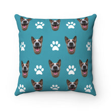 Load image into Gallery viewer, Paw Pattern Custom Dog Face Throw Pillow