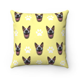 Paw Pattern Custom Dog Face Throw Pillow