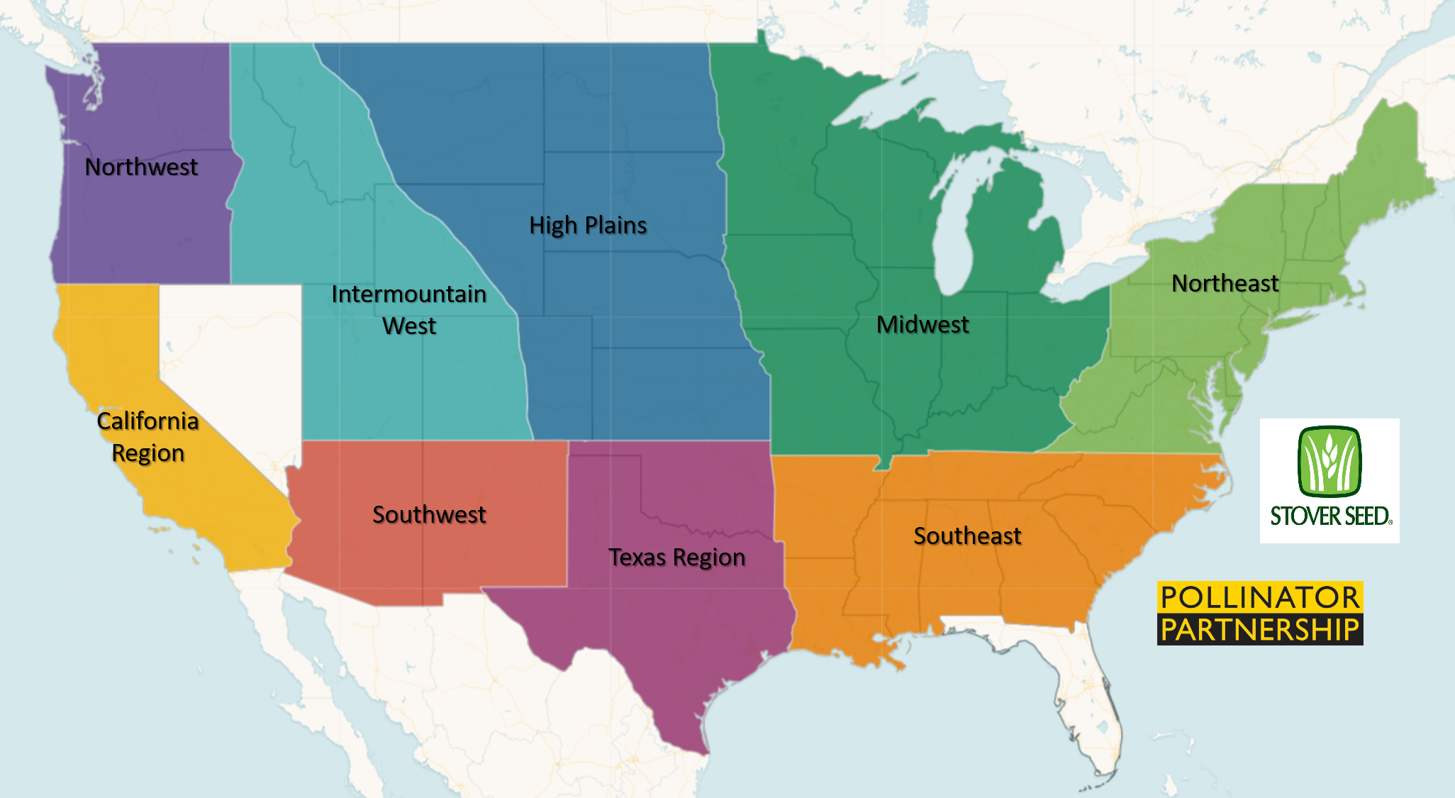 USA map of various regions for Native Pollinator Wildflower Mixtures