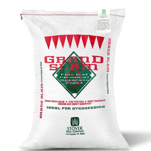 Seed bag of Grand Slam Platinum Quality Perennial Ryegrass blend seed.