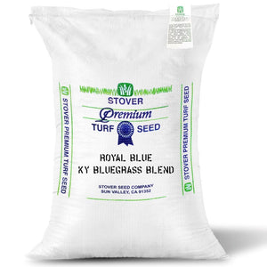 Royal Blue Kentucky Bluegrass blend seed bag.