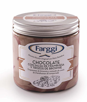 Frasco Farggi Chocolate Con Salsa De Frambuesa Y Trozos de Brownie - 450 ml