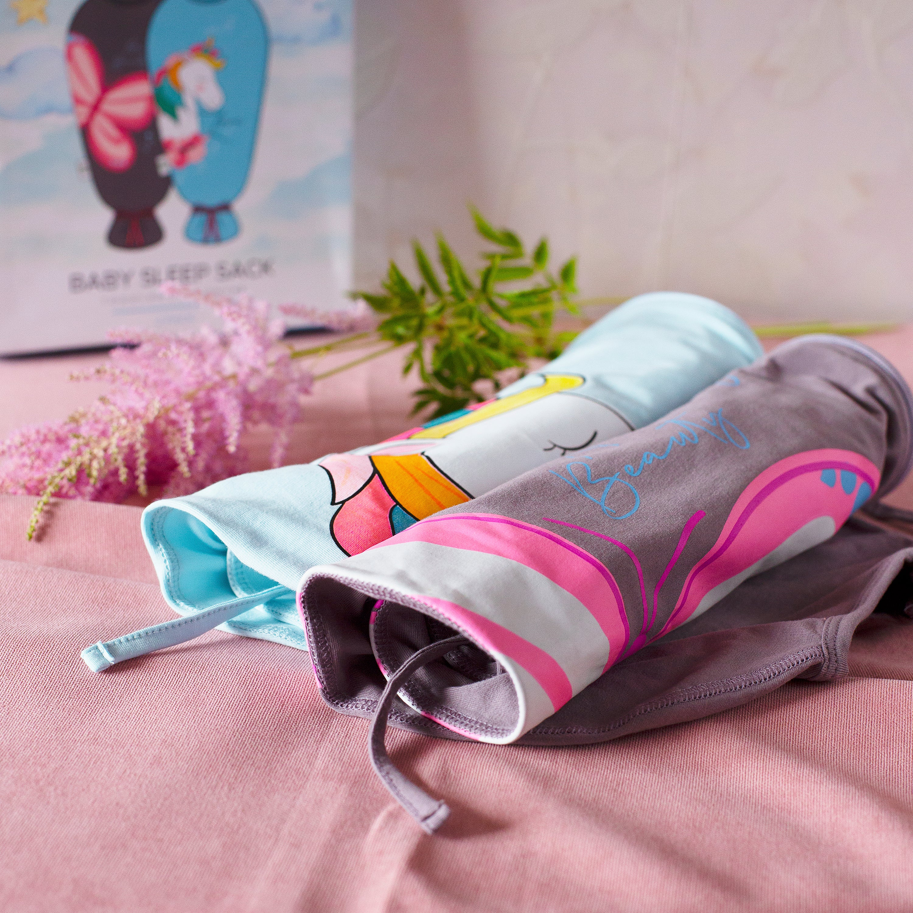 Baby Sleep Sacks (0-3 Months) - Unicorn / Butterfly
