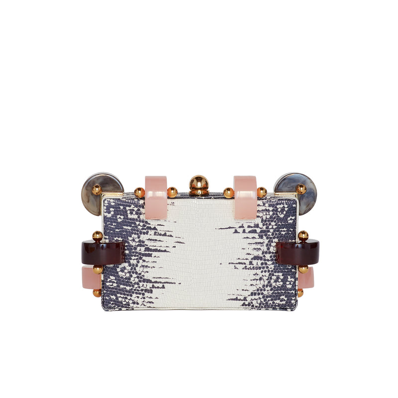 CANDY WHITE RING LIZARD CLUTCH BAG