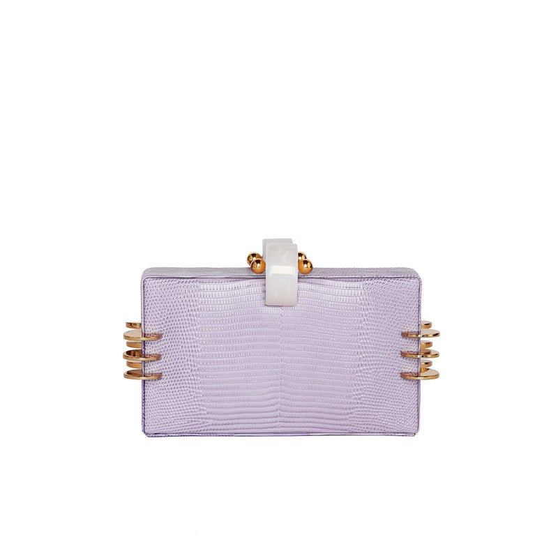 KENDRA AMETHYST ICE LIZARD CLUTCH BAG