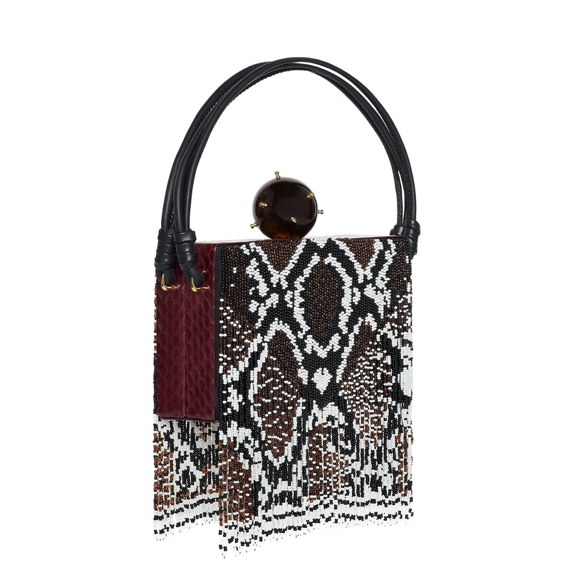 RITZY PYTHON BEADED TOP HANDLE BOX BAG