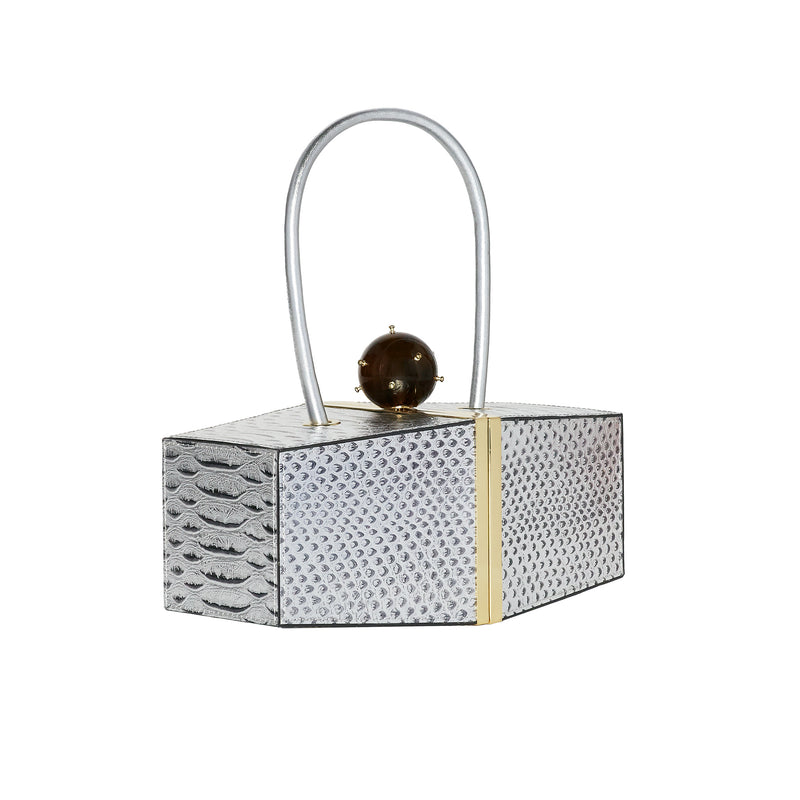 SAMI SILVER EMBOSSED SNAKE GEOMETRIC BOX BAG