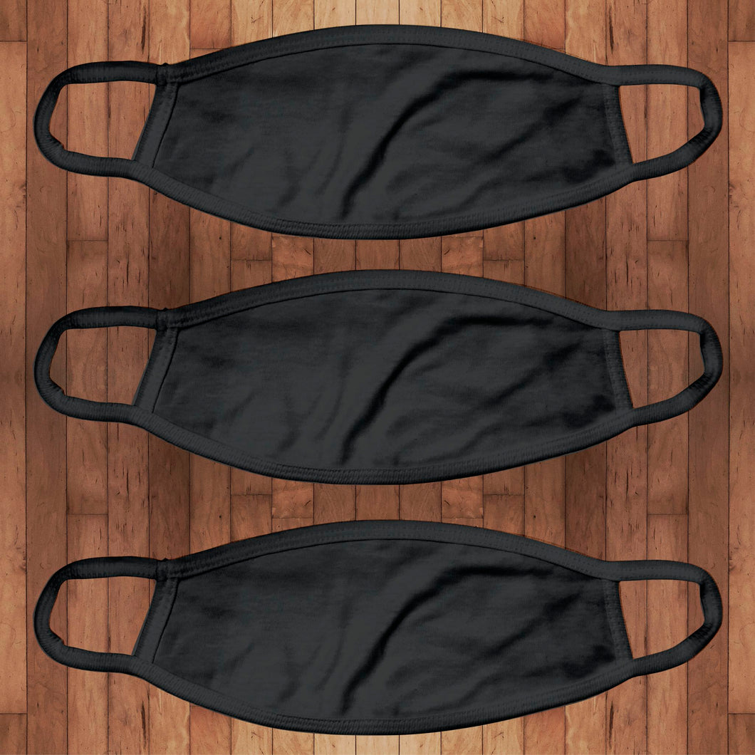 3 Pack | Cotton Face Cover- black