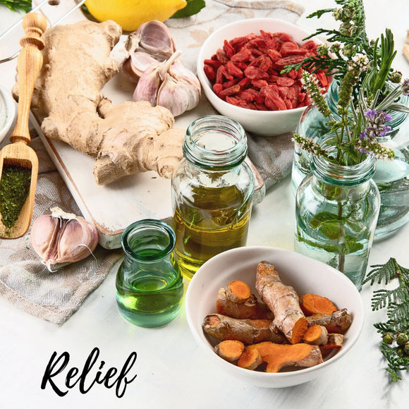 RELIEF - Essential Oils chosen to create our RELIEF products: Bergamot, Black Pepper, Cajeput, Clove Bud, Cypress, Eucalyptus, Frankincense,  Ginger, Helichrysum, Juniper Berry, Lemongrass, Manuka, Marjoram, Peppermint, Roman Chamomile, Rosemary
