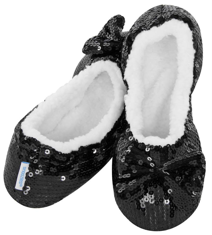 Snoozies Sequin Slippers - Black - Derbyshire Gift Centre
