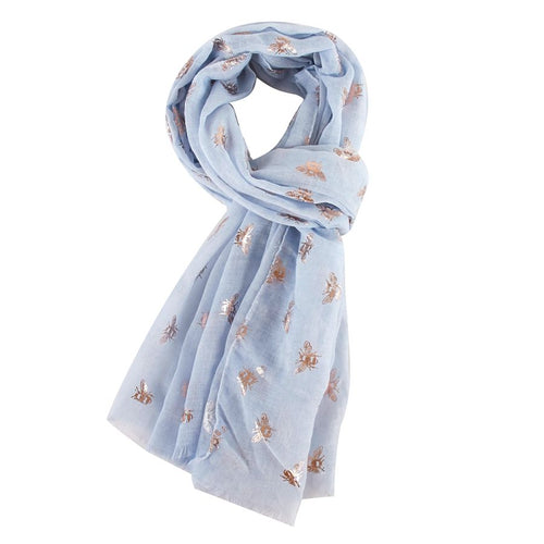 Rose Gold Bee Scarf - Light Blue - Derbyshire Gift Centre