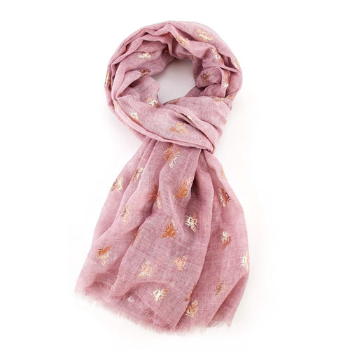 Rose Gold Bee Scarf - Pink - Derbyshire Gift Centre